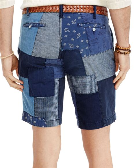 Mens Patchwork Shorts - polo ralph fit maritime patchwork shorts