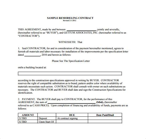 Remodeling Template 9 Remodeling Contract Templates To Download For Free Sle Templates
