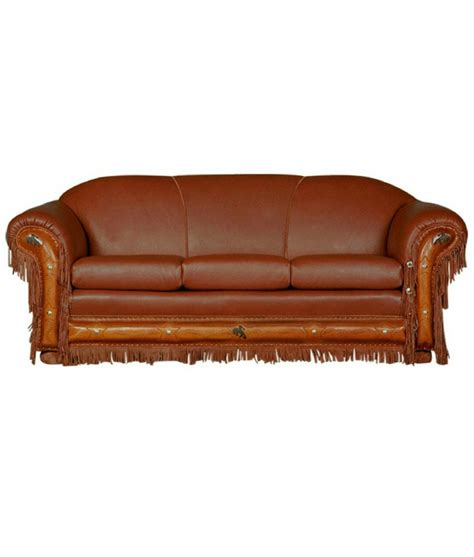 cheyenne couch western leather sofa with fringe and tooling