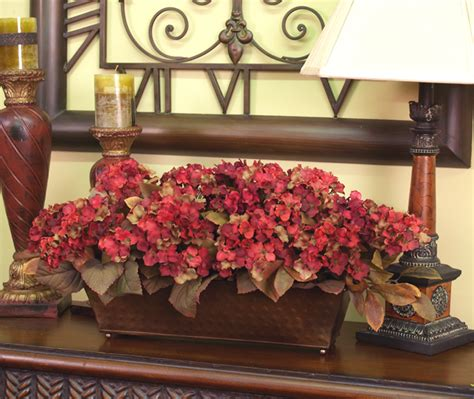 decorating home with flowers burgundy silk hydrangea planter in hammered metal ar115 69