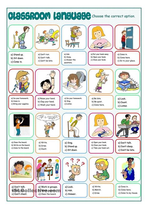 printable instructions classroom classroom language multiple choice resource for english