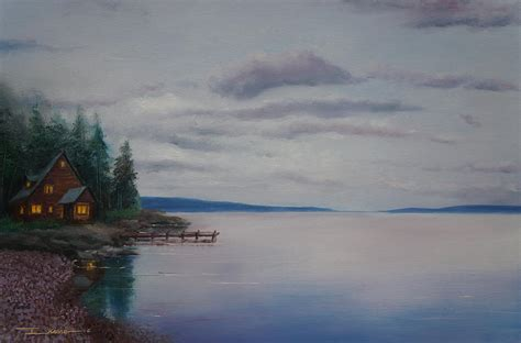cabin by the lake painting by ikenna chineme