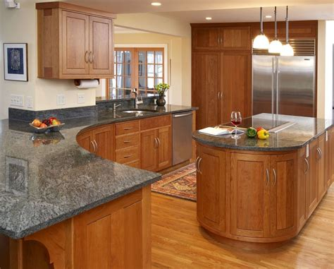dark grey countertops  natural oak cabinets google