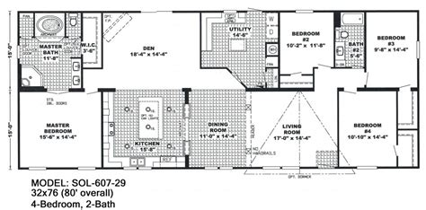 4 Bedroom Mobile Home Floor Plans by Beautiful 4 Bedroom Wide Mobile Home Floor Plans