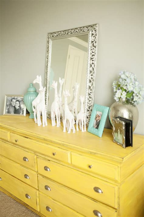 Painted Yellow Dresser by Master Bedroom Makeover