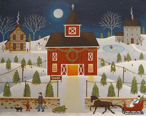 christmas tree farm painting by mary charles