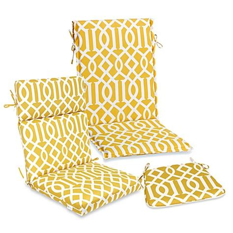 Outdoor Seat Cushion Collection in Yellow Trellis   Bed
