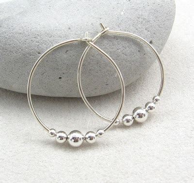 Handmade Sterling Silver Hoop Earrings - gracie jewellery handmade sterling silver beaded hoop