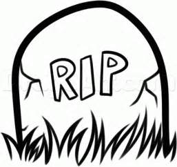 how to draw a gravestone for kids step by step halloween