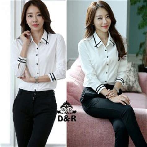 Mini Kinan Hitam Salur Putih baju kemeja hem hitam wanita panjang model terbaru murah