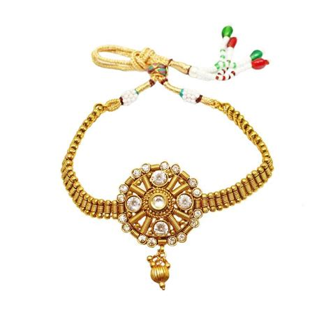 Antique Jewellery Bajuband buy designer ring style traditional antique gold plated with white bajuband for bridal