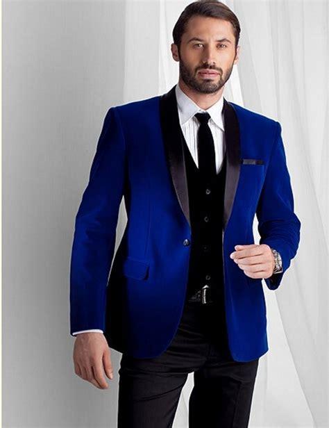 Groomsmen Shawl Lapel Groom Tuxedos Royal Blue Velvet