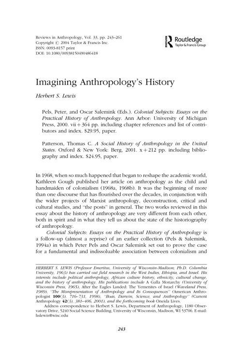 (PDF) Imagining Anthropology's History