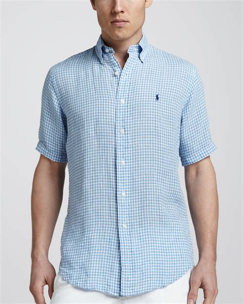 light blue linen polo ralph lauren gingham shortsleeve linen shirt light
