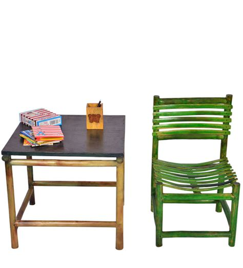 study table chair set in green colour by - Study Table Set