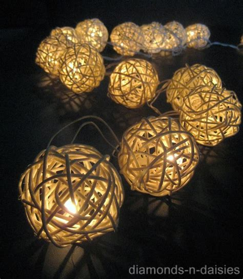 20 Warm White Wicker Rattan Ball Led String Fairy Lights Rattan String Lights