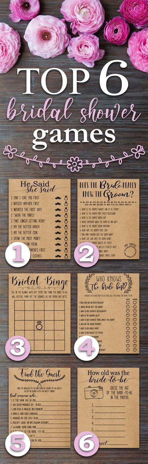 Top 6 Bridal Shower Games. Fun, Rustic, funny, bridal