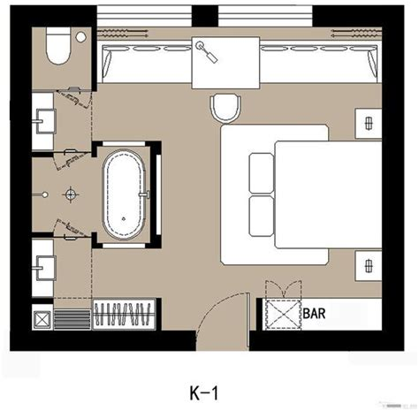 hotel double room layout beach suite amour where bar is kitchenette at front
