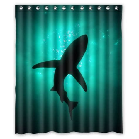 shark shower curtain hooks eco friendly abstract sea shark silhouette ocean animal