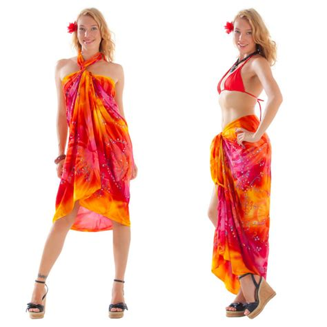 embroidered tie dye sarong in orange yellow