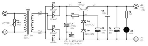24 volts power supply circuit diagram 24 volts power supply at 2 eres schematic circuit