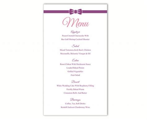 wedding menu card template word wedding menu template diy menu card template editable text
