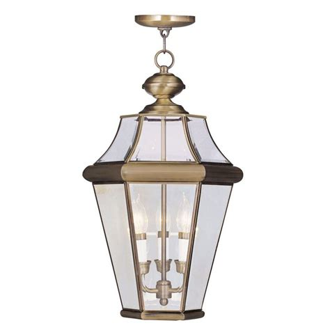 Outdoor Light Pendant Hanging Livex Lighting Providence 3 Light Antique Brass Outdoor Hanging Pendant 2365 01 The Home Depot