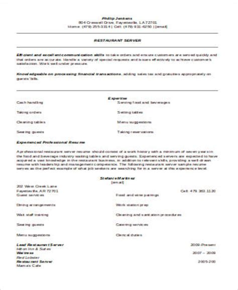Restaurant Server Resume by 6 Sle Restaurant Server Resumes Sle Templates