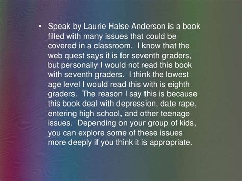 Speak By Laurie Halse Essay by Speak Multi Text Lesson Dyson