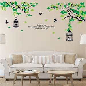 wall stickers living room aliexpress com buy tree branches birdcage birds wall