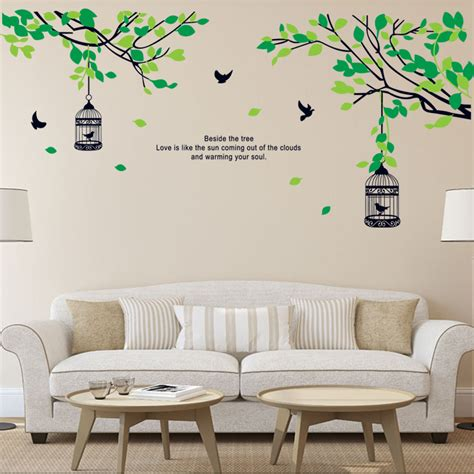 Wall Decals For Living Room Aliexpress Buy Tree Branches Birdcage Birds Wall