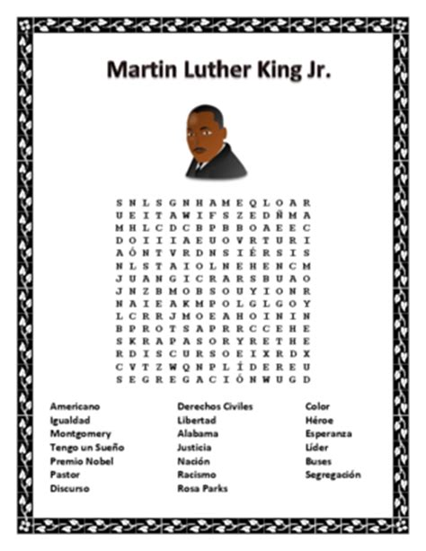 martin luther king word search worksheet martin luther king jr word search double puzzle spanish