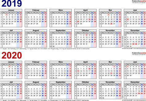 Kalender 2018 Querformat In Farbe Zweijahreskalender 2019 2020 Als Pdf Vorlagen Zum Ausdrucken