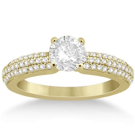 row micro pave engagement ring 18k yellow
