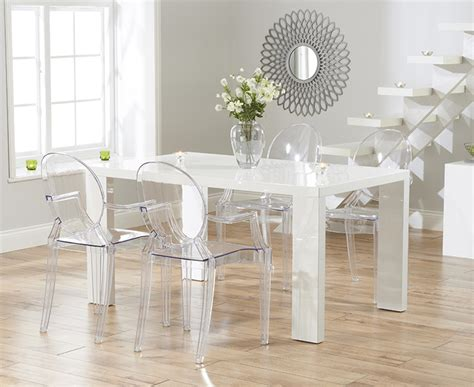 Dining Table With Ghost Chairs Monza 150cm White High Gloss Dining Table With Philippe Starck Style Ghost Chairs Fantastic