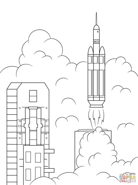 rocket launch coloring page delta 4 heavy rocket launches orion into space coloring