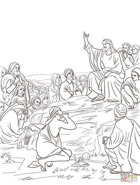 coloring pages of jesus sermon on the mount jesus sermon on the mount coloring page free printable