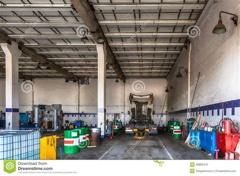 truck upholstery shop truck or lorry repair shop service stock photo image