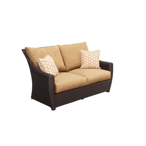 Barley Pillow by Brown Highland Patio Loveseat With Toffee Cushions And Tessa Barley Throw Pillows