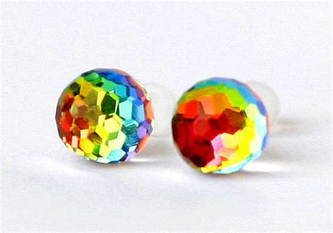 Rainbow Ear Stud swarovski earrings rainbow balls vitrail changing colors