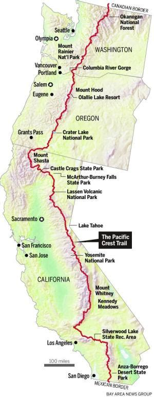 pacific crest trail map california pacific crest trail finds itself wildly popular mercury news