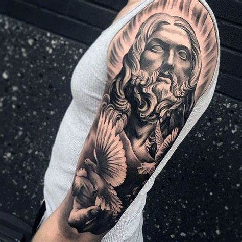 religious half sleeve tattoos for men 50 jesus sleeve designs for religious ink