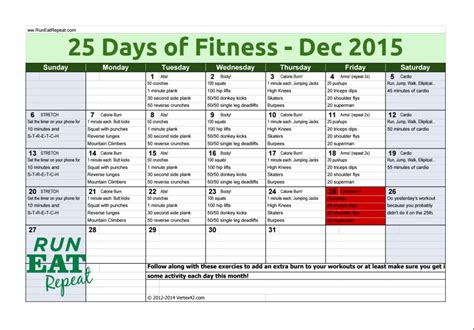 25 day fitness challenge 25 days of fitness challenge december 2015 run eat repeat