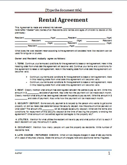 Rental Agreement Word Template ms word rental agreement template word document templates
