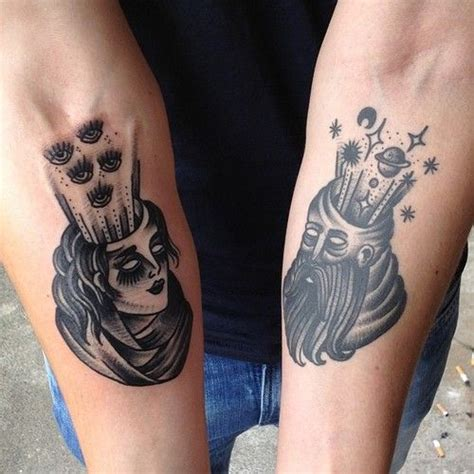 pinterest uk tattoo tattoos on forearms of man and woman with planets and eyes