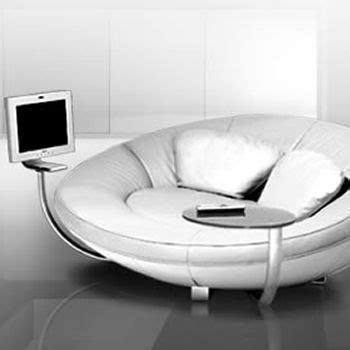 Gadget Sofa by Multimedia Upholstered Sofa With An Incorporated Computer