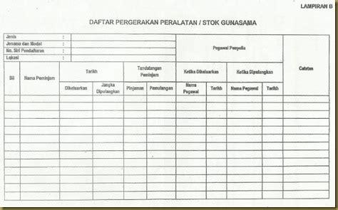 format buku daftar kunci pejabat sk leftenan adnan borang rekod peralatan