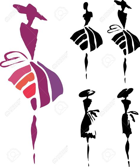 fashionable silhouette clipart