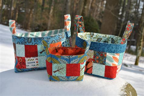 Patchwork Basket - pdf patchwork fabric basket pattern mini charm friendly