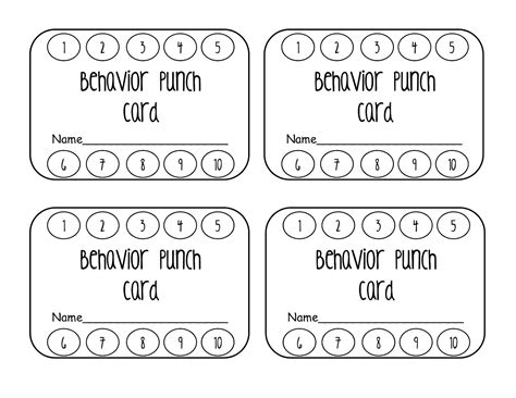 Punch Card Templates by Classroom Freebies Behavior Punch Card